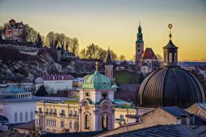 Фотографии Австрия Храмы Здания Зальцбург Купол Города