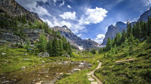 Фотографии Канада Парки Гора Небо Пейзаж Банф Ель Ручеек Тропа Облако Природа