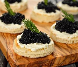 Фото Морепродукты Икра Бутерброды Продукты питания