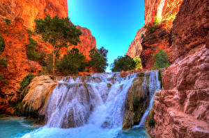 Фотографии Штаты Парки Водопады Гранд-Каньон парк Деревья Каньон Скала Beaver Falls Arizona Природа