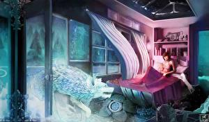 Обои Волки Кровать Комната Фантастика Девушки Животные