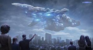 Обои Корабли Инопланетяне Фэнтези Космос Города фото