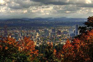 Фотографии США Дома Горы Осенние Облачно Portland Города