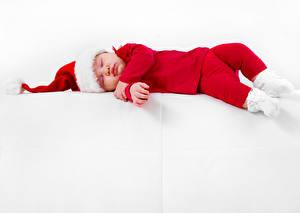 Фотография Праздники Новый год Грудной ребёнок Униформа Шапки Спящий Ребёнок