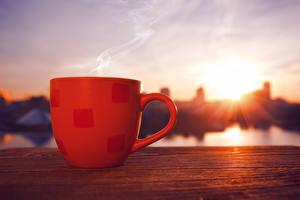 Фотографии Кофе Крупным планом Чашка Дымит Пища