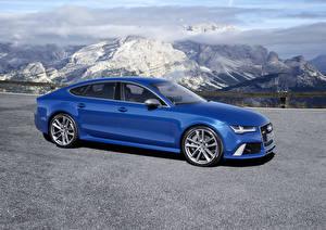 Картинки Ауди Горы Металлик Синих 2015 Audi RS 7 Sportback авто