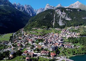 Обои Италия Дома Горы Сверху Molveno Города фото