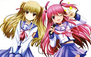 Обои Angel Beats! Микрофон Двое Yusa, Yui Аниме Девушки фото