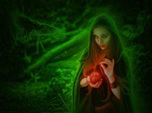 Картинки Волшебство Яблоки Вороны Капюшон Фантастика Девушки