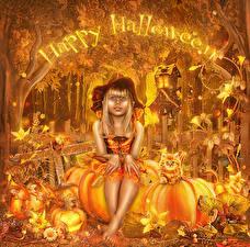Фото Праздники Хеллоуин Тыква Шляпа Сидящие ребёнок