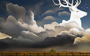 Фотографии Фантастический мир Олени Облака Фэнтези