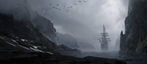 Фотографии Корабль Парусные Берег Море Рисованные Тумана Природа