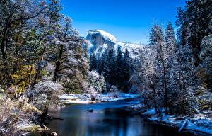 Фото Штаты Парки Горы Речка Леса Зимние Пейзаж Йосемити Дерева Снега Природа