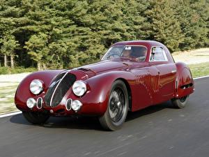 Картинки Альфа ромео Винтаж Темно красный Металлик 1938 Alfa Romeo 8C 2900B LeMans машина