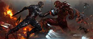 Фотографии Железный человек герой Битвы Герои комиксов Первый мститель: Противостояние Steven Rogers tony stark Кино Фэнтези