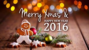 Обои Праздники Новый год Печенье 2016 Ветки Шарики фото