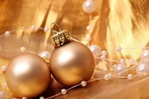 Обои Праздники Новый год Шарики Золотая Двое