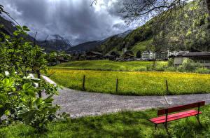 Картинки Швейцария Дома Горы Небо Траве Скамейка HDR Elm город Природа