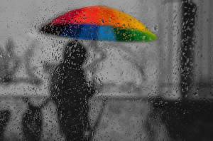 Картинки Дождь Зонт Капли Стекло