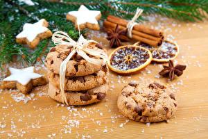 Обои Новый год Выпечка Печенье Корица Еда фото
