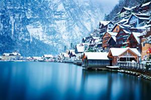 Фото Австрия Озеро Горы Побережье Дома Зима Халльштатт