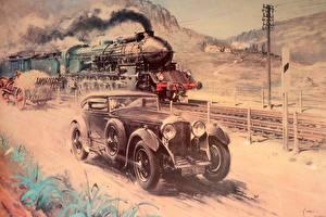 Картинка Bentley Рисованные Поезда Живопись Локомотив Terence Cuneo Автомобили