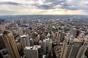 Картинки США Небоскребы Дома Чикаго город Мегаполис Города
