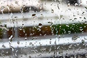 Обои Дождь Капли Стекло Природа