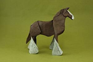 Обои Лошади Крупным планом Оригами Бумага Животные