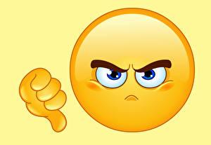 Картинки Смайлы Векторная монотипия angry thumb down 0D Графика