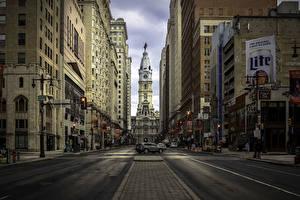 Картинка Здания Дороги США Улице Philadelphia город