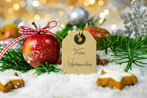 Обои Праздники Новый год Яблоки Выпечка Печенье Ветки Снег Еда фото