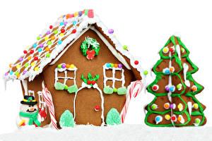Фотография Праздники Рождество Выпечка Дома Печенье Пряничный домик Дизайна Новогодняя ёлка Еда