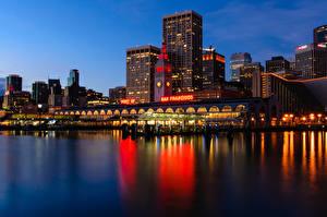 Фотографии Штаты Побережье Дома Сан-Франциско Ночные Financial District Города
