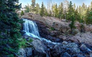 Фотография Горы Водопады Леса Скала Природа