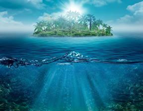 Фотографии Пейзаж Тропики Море Остров Вода Пальма Природа