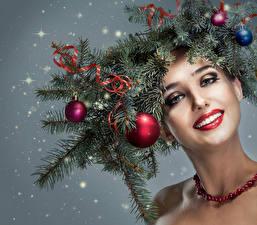 Фотография Новый год Ветки Шар Лицо Мейкап Девушки