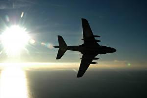 Обои Самолеты Силуэт Солнце Авиация фото