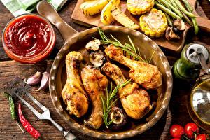 Картинки Мясные продукты Курица запеченная Кетчупа Тарелке