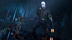 Обои The Witcher 3: Wild Hunt Мужчины Воители Геральт из Ривии Мечи Игры 3D_Графика Фэнтези фото