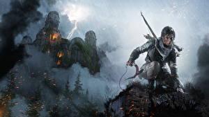 Картинки Rise of the Tomb Raider Дождь Замки Лара Крофт Молния компьютерная игра Фэнтези