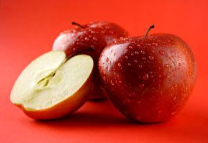 Картинки Фрукты Яблоки Вблизи Капли Продукты питания