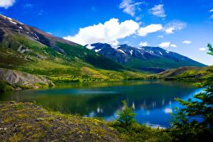 Картинки Чили Пейзаж Горы Озеро Небо Облака Patagonia Природа