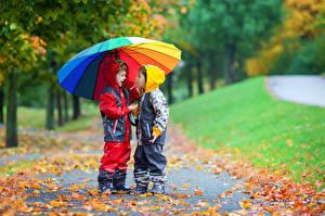 Картинка Осенние Мальчики 2 Зонт Куртка Дети