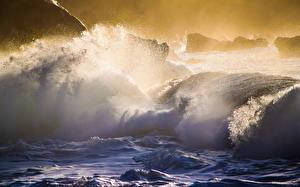 Фотографии Море Побережье Волны Гавайи Брызги Oahu's North Shore Природа