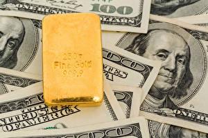 Обои Деньги Купюры Золото Доллары 100 фото