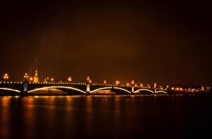 Фото Санкт-Петербург Россия Мосты Речка Ночь Города