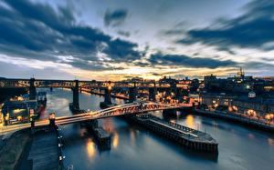 Фотография Англия Рассвет и закат Мост Реки Tyne Bridge, Newcastle, River Tyne город Природа