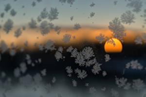 Фотография Рассветы и закаты Зима Снежинки Солнце Стекло Природа