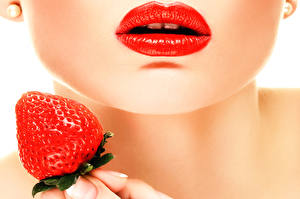Фотографии Губы Клубника Мейкап Red Lips Девушки Еда
